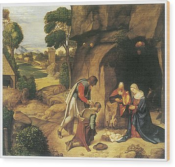 The Adoration Of The Shepherds Wood Print by Giorgione