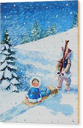 The Aerial Skier - 1 Wood Print by Hanne Lore Koehler