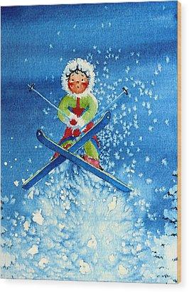 The Aerial Skier - 11 Wood Print by Hanne Lore Koehler