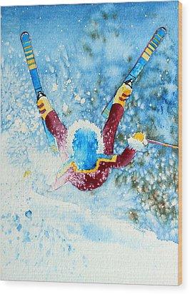 The Aerial Skier - 14 Wood Print by Hanne Lore Koehler