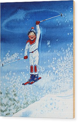The Aerial Skier 15 Wood Print by Hanne Lore Koehler