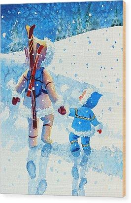 The Aerial Skier - 2 Wood Print by Hanne Lore Koehler