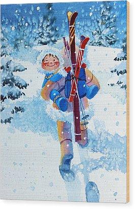 The Aerial Skier - 3 Wood Print by Hanne Lore Koehler