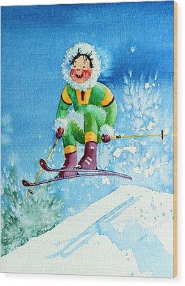 The Aerial Skier - 9 Wood Print by Hanne Lore Koehler