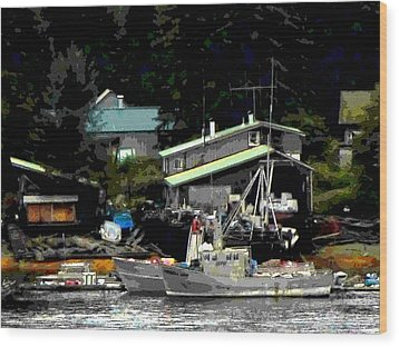 The Alaskan Fisherman's Home Wood Print by Mindy Newman