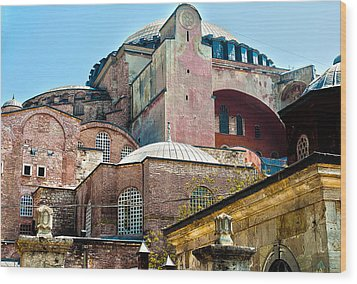 Wood Print featuring the digital art The Ancient Hagia Sophia by MaryJane Armstrong