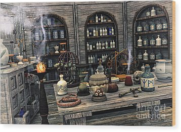 The Apothecary Wood Print by Jutta Maria Pusl