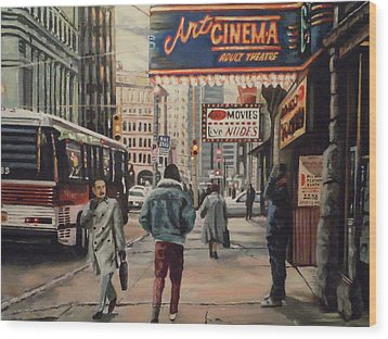 Wood Print featuring the painting The Art Cinema In The 80s. by James Guentner