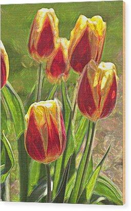 Wood Print featuring the photograph The Artful Tulips by Nancy De Flon