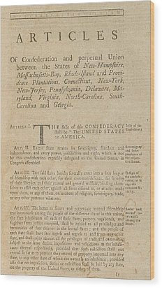 The Articles Of Confederation. First Wood Print by Everett