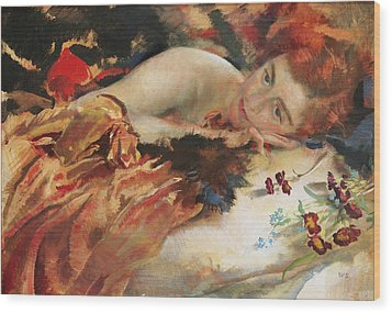 The Artist's Mistress Wood Print by Charles Sims