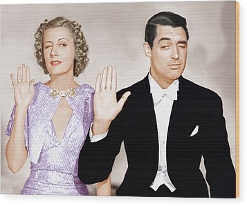 The Awful Truth, From Left Irene Dunne Wood Print by Everett