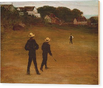 The Ball Players Wood Print by William Morris Hunt