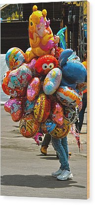 The Balloon Lady Wood Print
