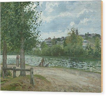 The Banks Of The Oise At Pontoise Wood Print by Camille Pissarro