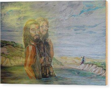 The Baptism Of Yeshua Messiah Wood Print by Anastasia Savage Ealy