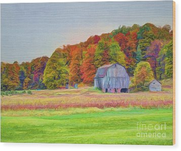 The Barn In Autumn Wood Print by Michael Garyet