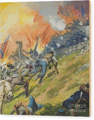 The Battle Of Gettysburg Wood Print by Severino Baraldi