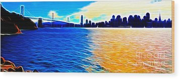 The Bay Bridge And The San Francisco Skyline . Panorama Wood Print by Wingsdomain Art and Photography