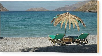 The Beach Umbrella Wood Print by Therese Alcorn