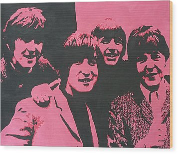 The Beatles In Pink Wood Print