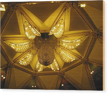 The Beautifully Lit Chandelier On The Ceiling Of The Iskcon Temple In Delhi Wood Print by Ashish Agarwal