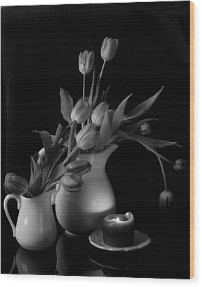 Wood Print featuring the photograph The Beauty Of Tulips In Black And White by Sherry Hallemeier