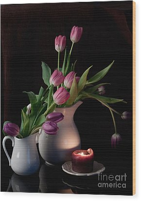 Wood Print featuring the photograph The Beauty Of Tulips by Sherry Hallemeier