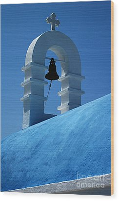 The Bell Tower In Mykonos Wood Print by Vivian Christopher