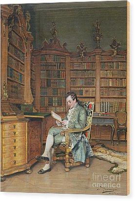 The Bibliophile Wood Print by Johann Hamza