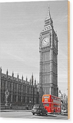 Wood Print featuring the photograph The Big Ben - London by Luciano Mortula