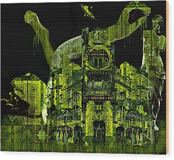 The Biomechanical Statue Garden Of Dr. Buttercup Wood Print by Laura Fedora