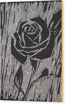 The Black Rose Wood Print by Marita McVeigh