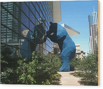 The Blue Bear Of Denver Colorado Wood Print