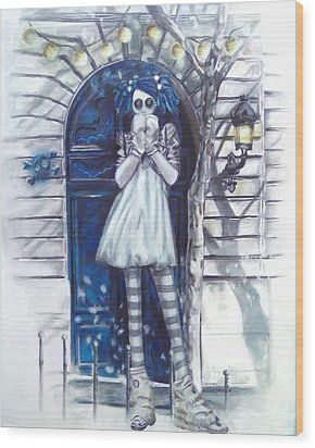 The Blue Door Wood Print
