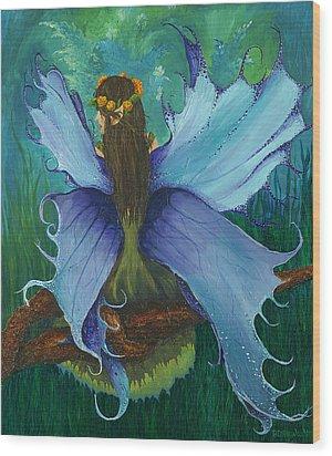 The Blue Fairy Wood Print by Deborah Ellingwood