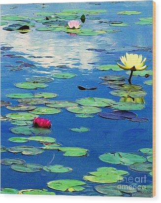 The Blue Pond  Wood Print by J Jaiam