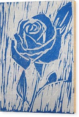 The Blue Rose Wood Print by Marita McVeigh
