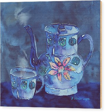 The Blue Teapot Wood Print by Arline Wagner