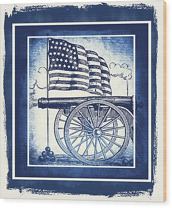 The Bombs Bursting In Air Blue Wood Print by Angelina Vick