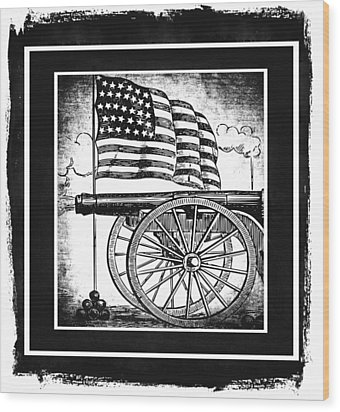 The Bombs Bursting In Air Bw Wood Print by Angelina Vick