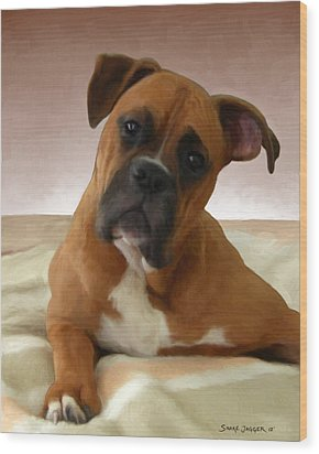 The Boxer Wood Print by Snake Jagger