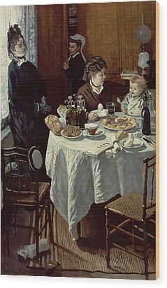 The Breakfast Wood Print by Claude Monet