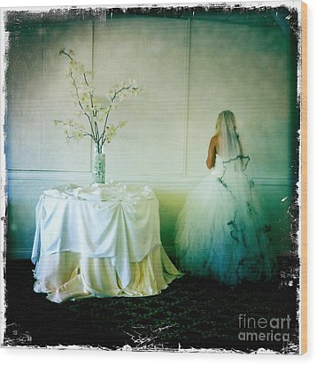 Wood Print featuring the photograph The Bride Takes A Moment by Nina Prommer