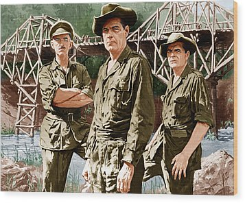 The Bridge On The River Kwai, From Left Wood Print by Everett