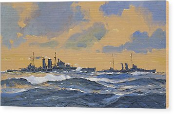The British Cruisers Hms Exeter And Hms York  Wood Print by John S Smith