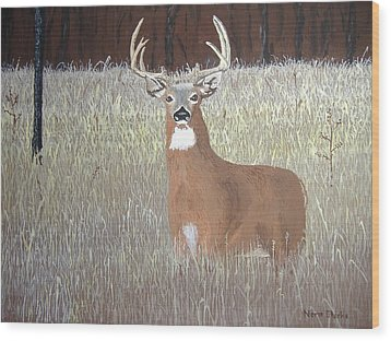 Wood Print featuring the painting The Buck Stops Here by Norm Starks