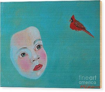 The Cardinal's Song Wood Print by Ana Maria Edulescu