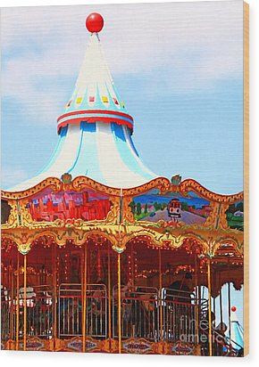 The Carousel At Pier 39 San Francisco California . 7d14342 Wood Print by Wingsdomain Art and Photography