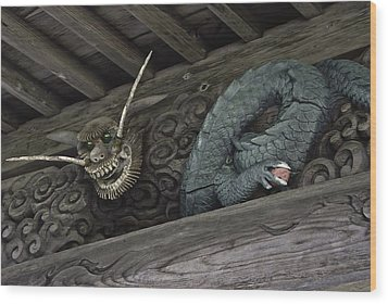 Wood Print featuring the digital art The Carved Shrine Dragon by Tim Ernst